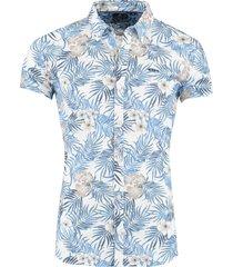 new zealand hemd korte mouw tarawera blauw print