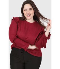 sweater bordó minari voladitos plus size