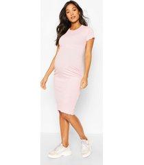 maternity lettuce edge midi dress, pink