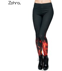 style fire flame printing leggings punk women legging stretchy trousers casual