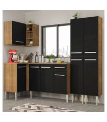 cozinha completa de canto madesa emilly music com armário, balcão e paneleiro rustic/preto rustic