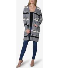shawl collar stripe long sleeve sweater cardigan