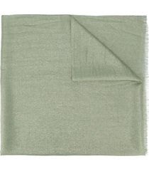 brunello cucinelli metallic sheen frayed scarf - green