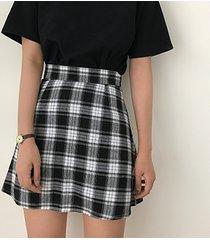 skirt for women black white plaid a-line high waist teen girl ulzzang harajuku