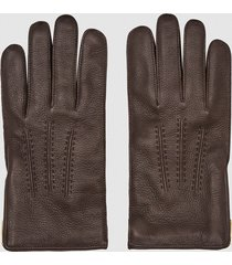 reiss iowa - leather zip detail gloves in dark brown, mens, size l