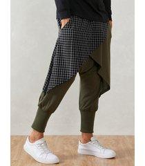 harem con entrepierna caída y capas de patchwork a cuadros para hombre pantalones
