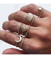 9 pezzi anello bohemien vintage con cuore a forma di cuore, corona in argento, anelli in oro a forma di nocca, regalo per le donne