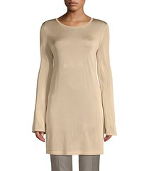 textured flare-sleeve tunic