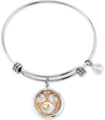 disney's tri-tone crystal minnie mouse glass shaker adjustable bangle bracelet in stainless steel for unwritten