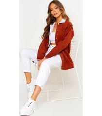 borg long line cord jacket, rust