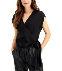 bar iii cap-sleeve wrap blouse, created for macy's
