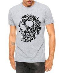 camiseta criativa urbana caveira assimétrica tattoo manga curta - masculino