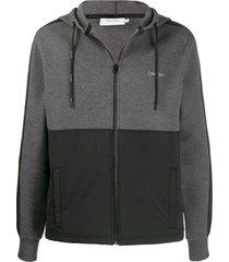 calvin klein two-tone zip-up hoodie - grey