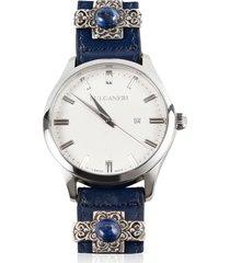 bulganeri designer men's watches, capri white dial, stainless steel men's watch w/silver lapislazzuli and garnets leather bracelet
