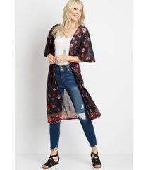 maurices womens black floral duster kimono