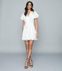 reiss gemina - embroidered mini dress in white, womens, size 4