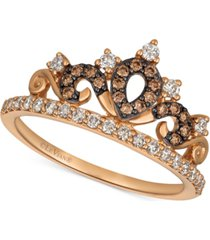 le vian chocolatier diamond tiara ring (3/8 ct. t.w.) in 14k rose gold