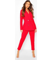 double breasted blazer & trouser suit set, red