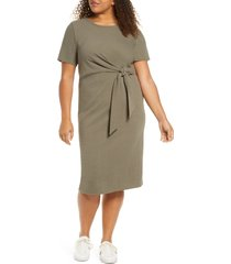 adyson parker knotted tie dress, size 1x in true olive at nordstrom