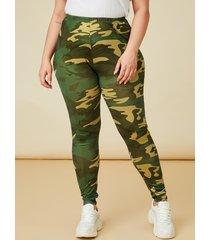 pantalones de camuflaje con correa elástica de talla grande