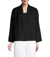 eileen fisher women's high collar organic cotton jacket - black - size xl