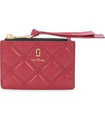 marc jacobs logo quilted wallet - red