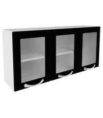 armário aéreo cozinha 3 portas vidro 1 prateleira premium itatiaia preto ipv3 120
