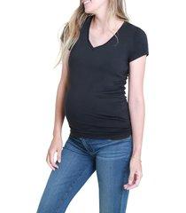 ingrid & isabel(r) maternity v-neck t-shirt, size large in black at nordstrom