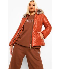 petite faux fur trim fitted puffer jacket, rust