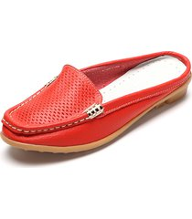 casual mocassini bassi slip-on traforati respirabile aperti dietro loafers