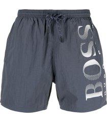 boss hugo boss logo-print swim shorts - grey