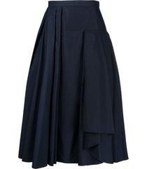 alexander mcqueen pleated mid-length skirt - blue