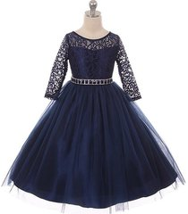 navy blue long sleeve stretchy lace bodice tulle skirt with belt girl dress