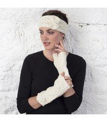 merino wool aran mittens cream