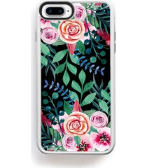 stylized flowers and roses top bottom on black for iphone 7 plus