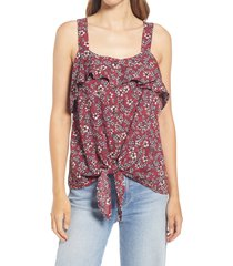 bobeau square neck button front tie front top, size small in berry wild floral at nordstrom
