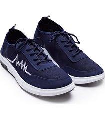 tenis hombre azul franja zigzag color azul, talla 39