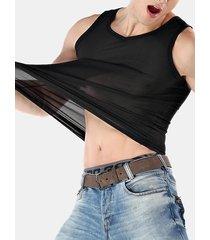 gilet di base in nylon elastico traspirante a maglia in pura seta color ghiaccio