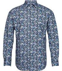blue flowers on navy overhemd business blauw bosweel shirts est. 1937
