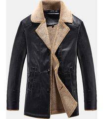 cappotto in montone casual in felpa con collo tinta unita imbottita in pile per uomo
