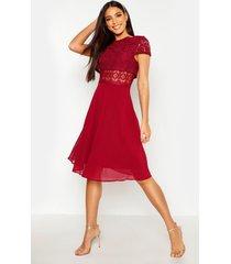 chiffon skater jurk met kanten topje, berry