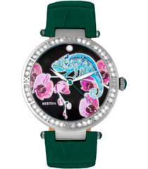 bertha quartz camilla collection teal leather watch 38mm