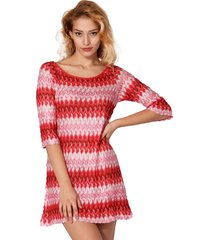 multicolor red knitted mini dress