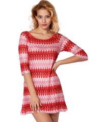 mc2 saint barth multicolor red knitted mini dress