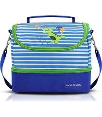 lancheira térmica com 2 compartimentos infantil dinossauro jacki design pequeninos azul