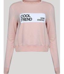 """blusão de moletom felpado feminino cropped """"cool trend"""" rosa claro"""