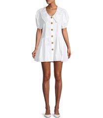 avantlook women's cecille puffed-sleeve cotton mini shirtdress - white - size s