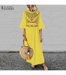 zanzea de las nuevas mujeres de boho floral de la playa de vacaciones en long señoras vestido maxi vestidos vestido de tirantes -amarillo