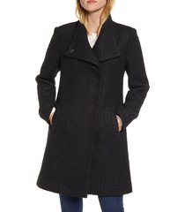 women's kenneth cole new york wool blend boucle coat, size large - black