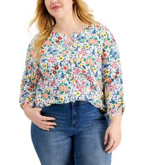 style & co cotton ditsy-print henley top, created for macy's